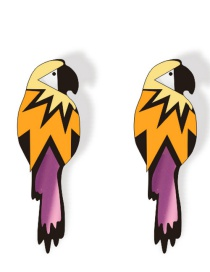Fashion Color Parrot Mirror Acrylic Parrot Long Earrings