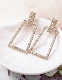Fashion Gold Color Crystal Rectangle Diamond Hollow Geometric Earrings