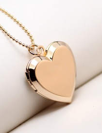Fashion Gold Color Heart-shaped Hollow Photo Box Can Hold Photo Necklace