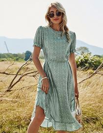 Fashion Green High Waist Round Neck Ruffled Mid-length Dress