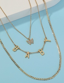 Fashion Gold Color Multilayer Necklace With Diamond Butterfly Pendant