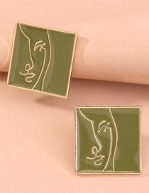Fashion Green Abstract Face Geometric Square Drip Earrings