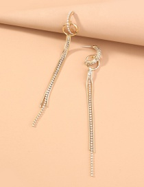 Fashion Gold Color Alloy Geometric Earrings With Tassels And Diamond Circles
