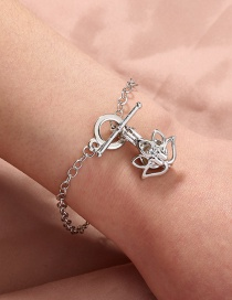 Fashion Silver Color Diamond Cage Pearl Heart-shaped Lotus Bracelet