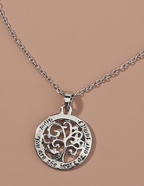 Fashion Silver Color Hollow Life Tree Alphabet Alloy Necklace