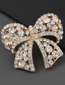 Fashion Gold Color Alloy Diamond Bow Brooch