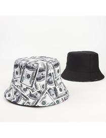 Fashion White Dollar Print Double-sided Fisherman Hat
