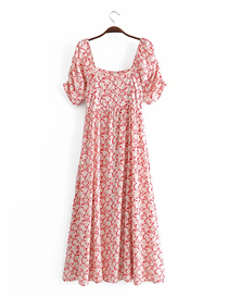 Fashion Red Floral Square Neck Printed Puff Sleeve Dress