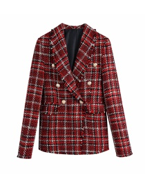 Fashion Red Tweed Single-breasted Blazer With Lapel