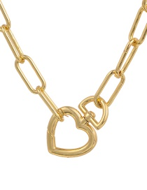 Fashion Golden Copper Heart Thick Chain Necklace