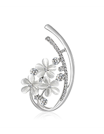 Fashion Silver Alloy Opal Rhinestone Flower Brooch