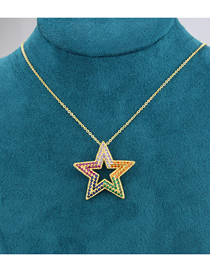 Fashion Gold-plated White Zirconium Diamond And Five-pointed Star Gold-plated Copper Pendant Necklace