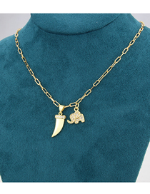 Fashion Gold-plated White Zirconium Tooth Elephant Gold-plated Zirconium Pendant Necklace