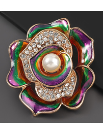 Fashion Flowers Alloy Oil Drop Diamond Pearl Flower Brooch