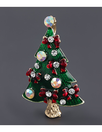 Fashion Christmas Tree Alloy Oil Drop Diamond Christmas Tree Brooch
