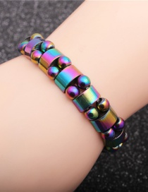 Fashion Colored Gallstones Gallstone Hemisphere Beaded Elastic Alloy Bracelet