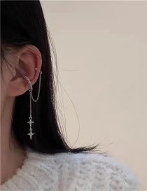 Fashion Silver Diamond Double-layer Star Tassel Chain Cross Without Pierced Ear Bone Clip