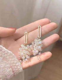 Fashion Golden Tassel Crystal Bead Alloy Earrings