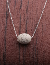 Fashion 1 White Volcano Volcanic Oval Thin Chain Necklace