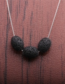 Fashion Black Volcano Volcanic Oval Thin Chain Necklace