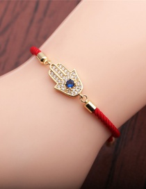 Fashion Red Rope Micro-inlaid Zircon Palm Eye Adjustable Bracelet