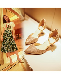 Fashion Golden Pointed Sequined High-heel Buckle Sandals