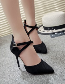 Fashion Black Pointed High-heeled Suede Hollow Buckle Strap Non-slip Sandals