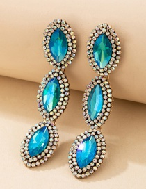 Fashion Blue Oval Alloy Diamond Earrings