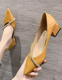 Fashion Yellow Pointed Thick With Shallow Mouth Cross Rhinestone Bag With Hollow Shoes