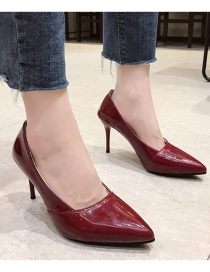 Fashion Red Solid Color Stiletto Pointed Patent Leather High Heels