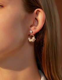 Fashion Kc Gold Double-layer Circle Earrings With Pearl And Zircon