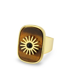 Fashion Tiger Eye Stone Flat Stone Square Sun Copper Gold Plated Ring