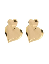 Fashion Golden Alloy Heart Shaped Earrings