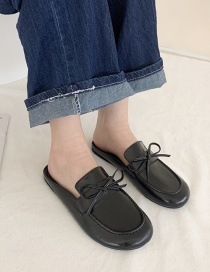 Fashion Black Bowknot Baotou Flat Half Slippers