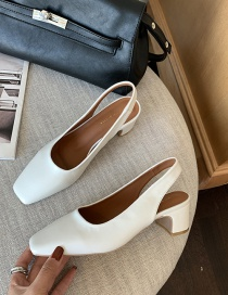 Fashion White Thick-heeled Soft Leather Square-toe Elastic Single Shoes