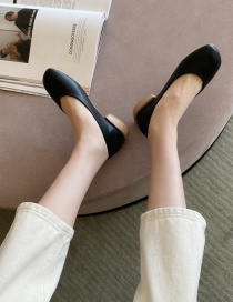 Fashion Black Square Toe Low Chunky Heel Pumps
