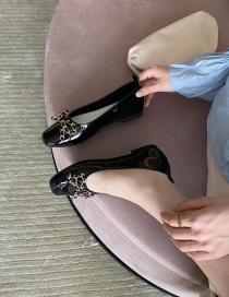 Fashion Black Shallow Bow Bow Flat Shoes
