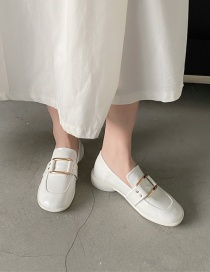 Fashion Off-white Square Toe Metal Buckle Low Heel Small Leather Shoes