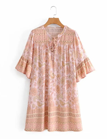 Fashion Apricot Printed Wide Loose Dress