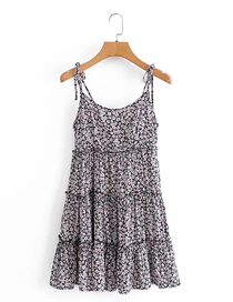 Fashion Black Floral Rayon Small Floral Print Suspender Dress