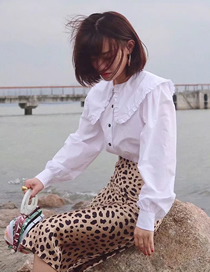 Fashion White Large Lapel Folded Puff Sleeve Loose Shirt