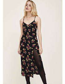 Fashion Black Grape Print Flower Print Slit Sling Dress