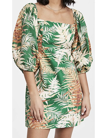 Fashion Green Leaf Print Square Neck Dress