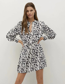 Fashion Animal Pattern V-neck Long-sleeved Straight Belted Shirt Dress