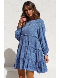 Fashion Blue Long Sleeve Printed Wood Ear Dress