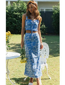Fashion Blue Floral Floral Print Camisole Skirt Suit
