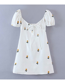 Fashion White Embroidered Floral Square Neck Dress