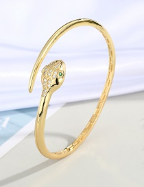 Fashion Pointed Tail Snake Snake-shaped Gold-plated Copper Open Bracelet With Diamonds