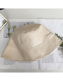 Fashion White Leather Solid Color Fisherman Hat