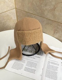 Fashion Khaki Lamb Wool Plus Velvet Thickened Ear Protection Lei Feng Hat